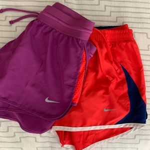 Two Pairs NIke Running Shorts XS Purple Red